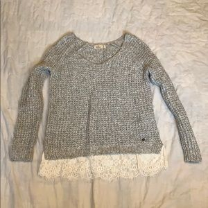 Hollister grey v neck sweater with lace trim